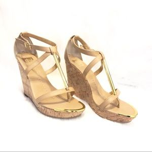 Dolce Vita Gold Accented Wedge Sandals